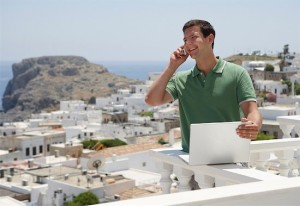 Man Using Cellular Phone, Lindos, Island of Rhodes, Greece